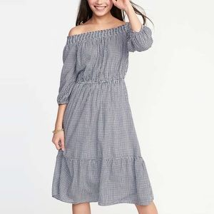 NWT Old Navy Off The Shoulder Gingham Dress Sz S